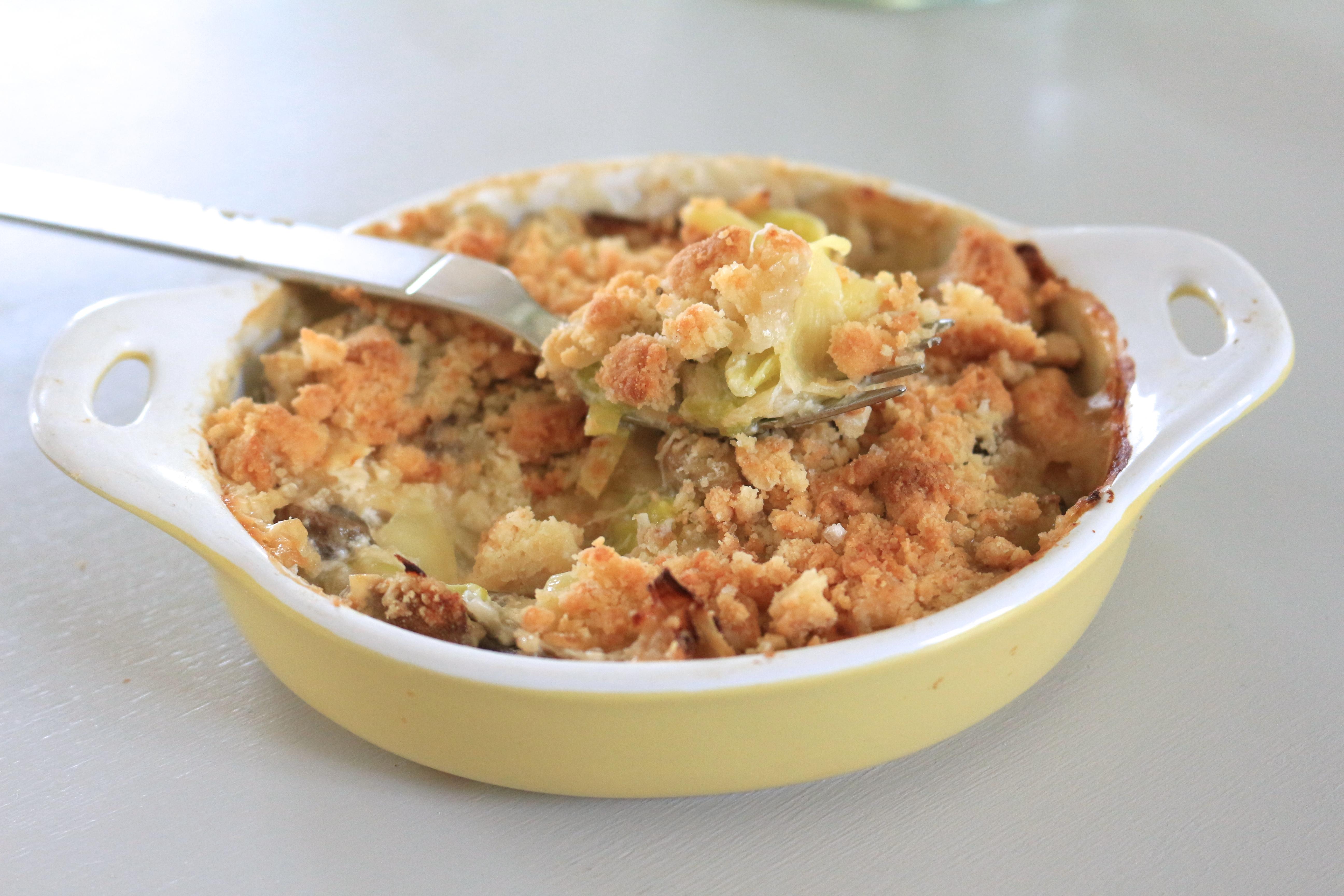 easy meal #2 : crumble poireaux-champignons