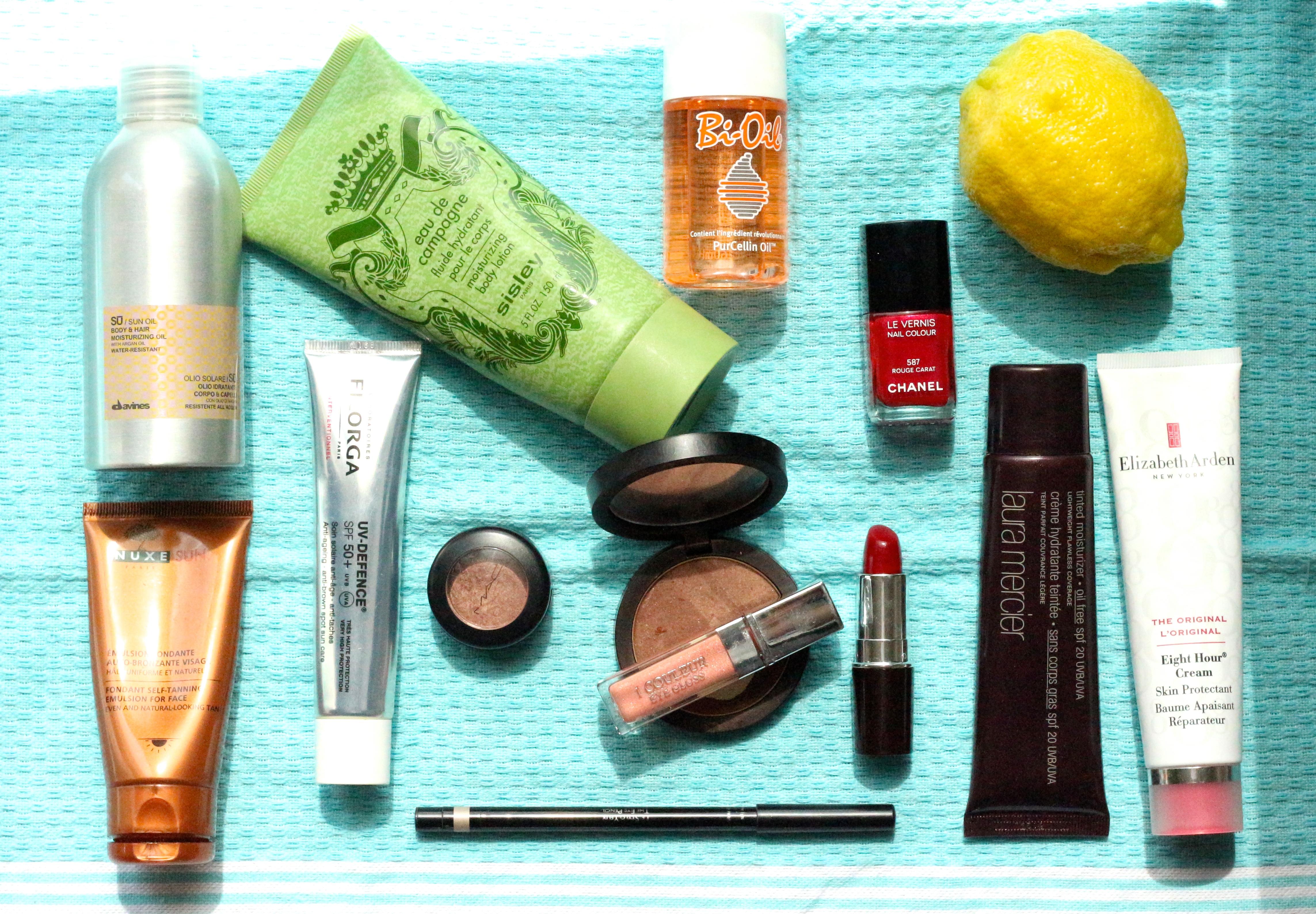 Summer vanity : Chanel, Nuxe, Elisabeth Arden, Sisley, Filorga, Laura Mercier, Giorgio Armani, Dior, Guerlain, Davines